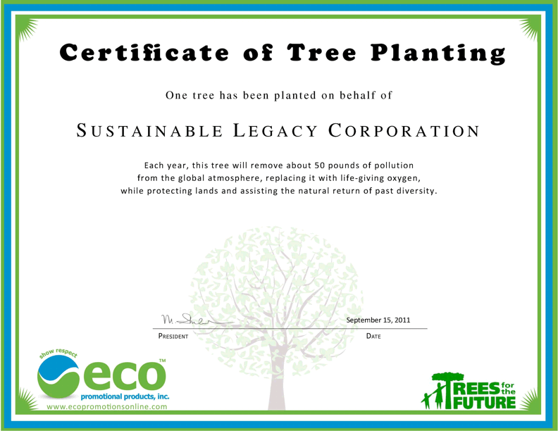 SSET Certificate of Tree Planting